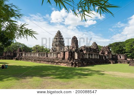 The inner sanctuary of Prasat Hin Phimai ancient Khmer temple complex or landmark in Nakhon Ratchasima province Thailand