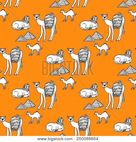 Seamless orange pattern with egyptian landmarks. Sphinx, camels, pyramids. Giza pyramids. Adventures. Ancient Egypt pattern with animals for design, prints, fabric, wrapping paper, invitations, cards.