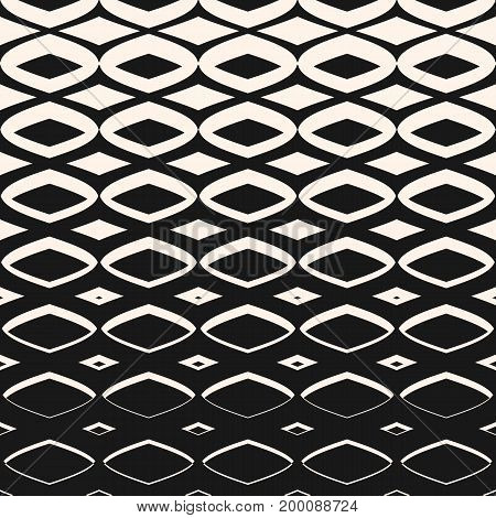 Halftone pattern. Vector geometric seamless pattern with diamond shapes, smooth mesh, grid. Hipster fashion print texture. Modern monochrome background, gradient transition effect. Horizontally seamless repeat design. Mesh pattern.
