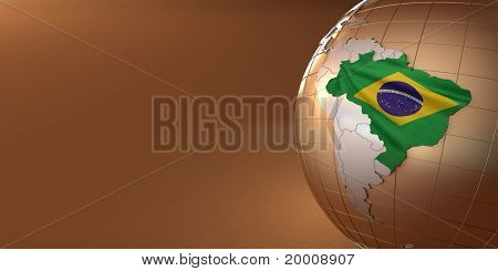 Map Of The Brazil On Earth In The National Colors
