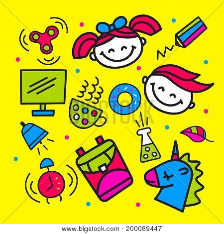 Set pop art school icons, labels, patches, tags, emoji, emoticon. Boy, girl, spinner, backpack, unicorn, computer, tube, watch. Vector illustration