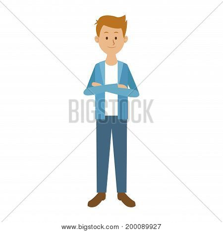 smiling man in casual clothes with arms crossed standing vector illustration