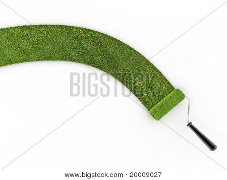 Grass With Rollerbrush On White Isolated Background
