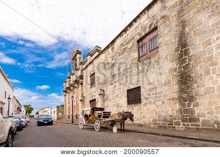 View of the building of the museum of Royal Palaces Santo Domingo Dominican Republic. Copy space for text