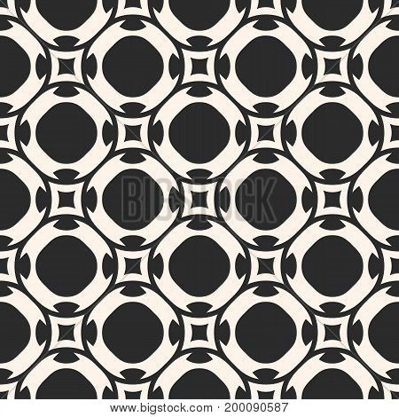 Vector seamless pattern in oriental style. Simple monochrome geometric ornament. Ornamental abstract background texture with rounded shapes, lattice, repeat tiles. Design for decor, fabric, tiling.