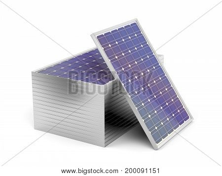Stack of solar panels on white background, 3D illustration
