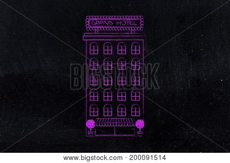 Grand Hotel Flat Minimal Illustration