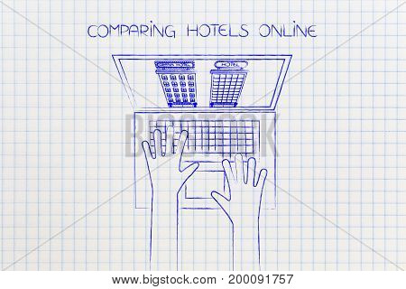 Laptop User With 2 Different Hotel Options On His Screen For Comparison
