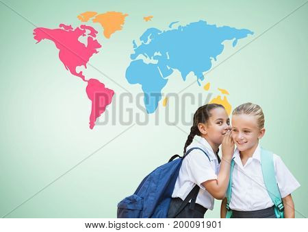 Digital composite of Kids whispering in front of colorful world map