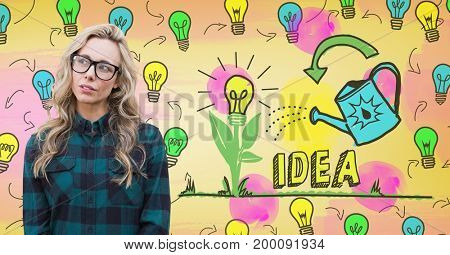 Digital composite of Hipster woman with colorful idea light bulbs graphics