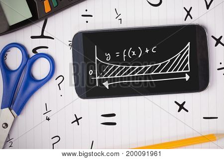 Digital composite of Phone on a school table with school icons on screen