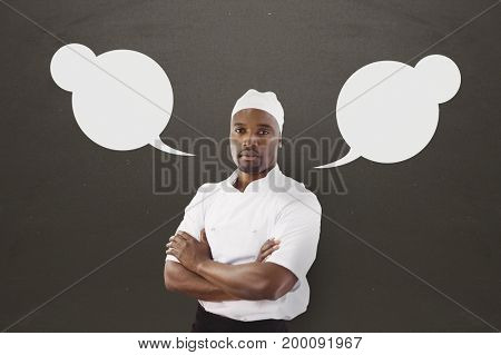 Digital composite of Chef man with speech bubble against grey background