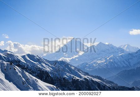 Mount Dhaulagiri I and Tukche Ri mountains peaks Annapurna Conservation Area Himalayas Nepal