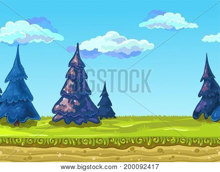 Seamless Landscape with a green meadow, fir-trees and mountains.. Vector illustration, possible to use for the game, banner, videos or web graphic design, user interface, card, poster.