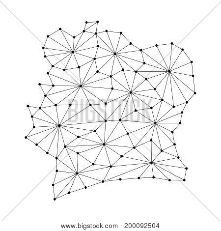 Ivory Coast map of polygonal mosaic lines network rays and dots vector illustration.