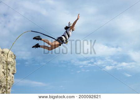 CRIMEA UKRAINE AUGUST 2011 : Ropejumping from the cliff near Bakhchysarai