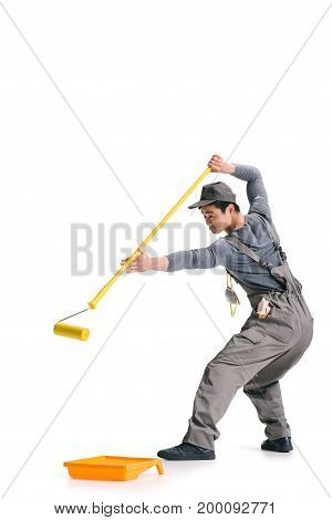 Construction Worker With Roller Brush