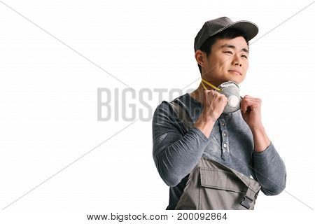 Asian Construction Worker With Respirator