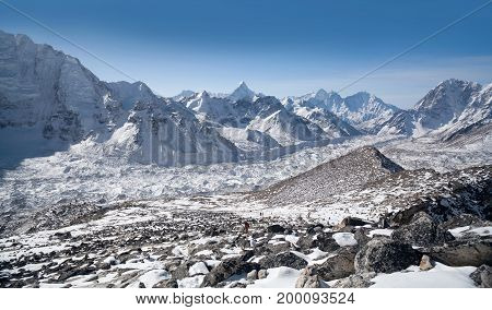 View of Khumbu glacier and Himalaya Mountain landscape from Kala Patthar hill in Sagarmatha National Park, Everest region, Nepal, Himalayas