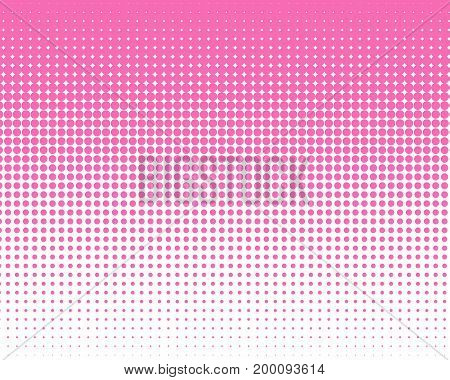 Vertical Gradient Pink Halftone Dots Background. Pop Art Template, Texture Illustration