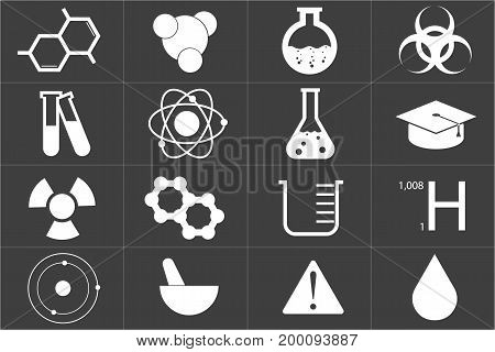 Different chemical icons set in black color