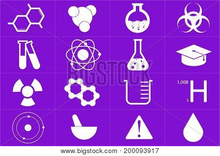 Different chemical icons set in purple color