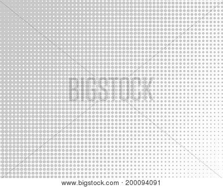 Vertical gradient gray halftone dots background. Pop art template, texture illustration