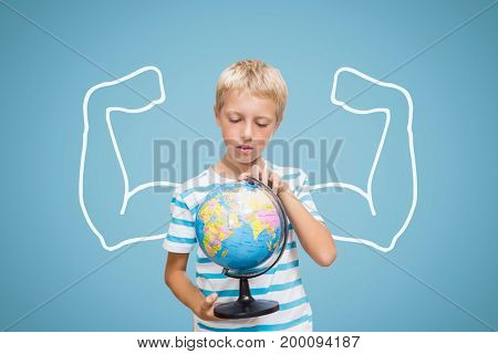 Digital composite of Student boy with fists graphic holding a globe against blue background