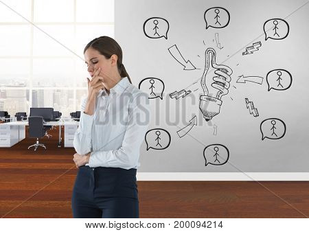 Digital composite of Business woman thinking in a 3D room with a conceptual graphic on the wall