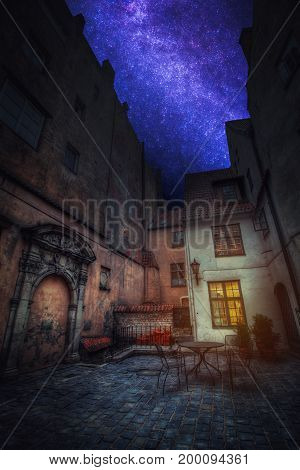Astrophotography, Starry Sky Shines At Night. Vintage Retro
