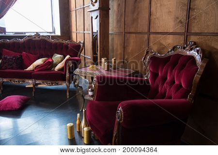 Beautiful Antique Room With Red Armchairs