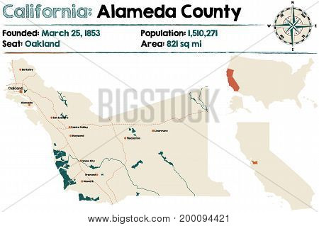 Large and detailed map of California - Alameda county