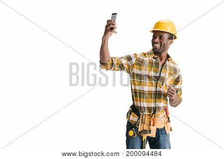 Afro Builder Taking Selfie