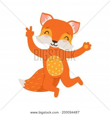 Cute orange fox character dancing, funny cartoon forest animal posing vector Illustration on a white background