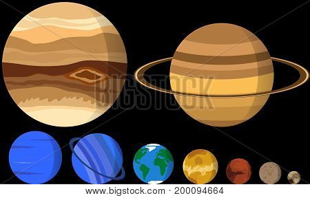 All planets of our solar system in different sizes