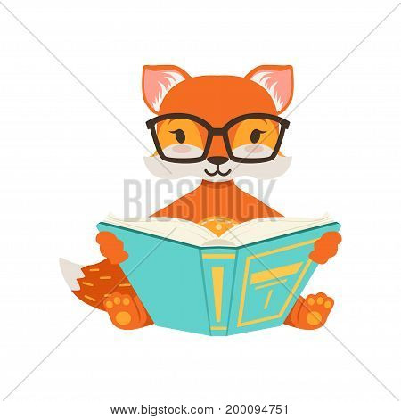 Cute orange fox character sitting and reading a book, funny cartoon forest animal posing vector Illustration on a white background