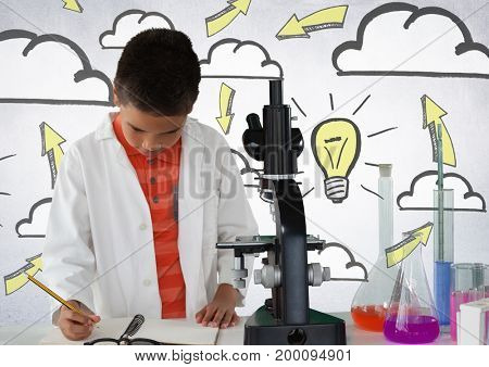 Digital composite of Schoolboy scientist writing with microscope and light bulb idea