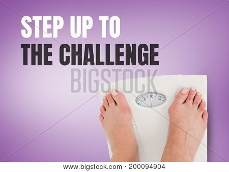 Digital composite of Step up to the challenge text and Weighing scales feet with purple background