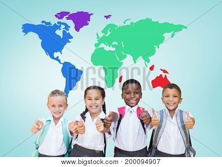 Digital composite of School kids holding thumbs up in front of colorful world map