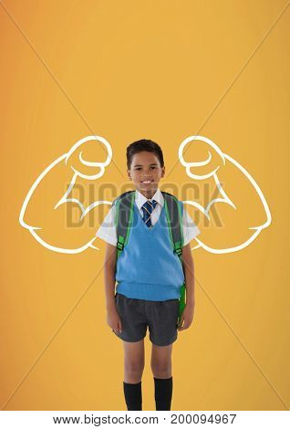 Digital composite of Happy student boy with fists graphic standing against yellow background