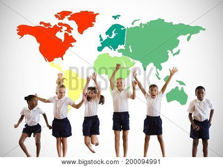 Digital composite of Multicultural Kids jumping in front of colorful world map
