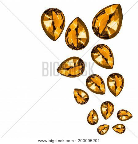 Group of yellow faceted drop shaped gems on white background