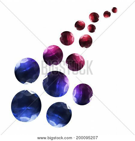 Group of large and small colorful gems isolated over white