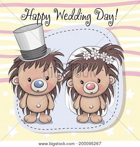 Greeting card Hedgehog Bride and Hedgehog groom
