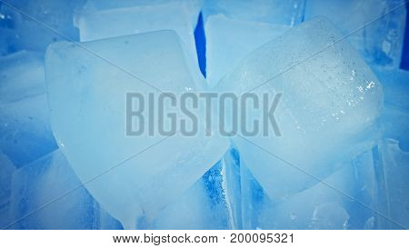 Ice Abstract Ice Cubes In Blue Bowl