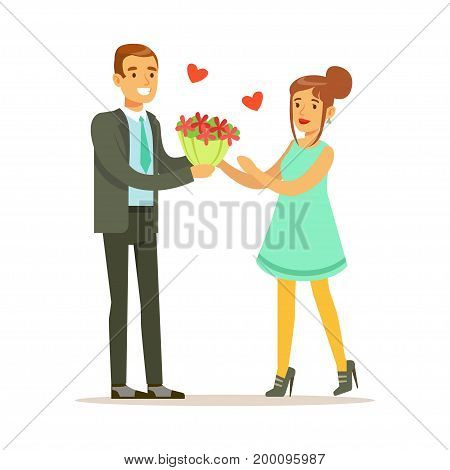 Elegant man giving a bouquet of flowers to happy woman in a light blue dress colorful characters vector Illustration isolated on a white background