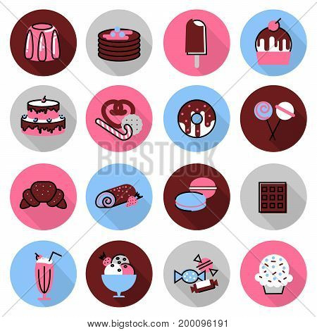 Modern flat thin line design vector illustration icons set of sweet desserts cakes chocolates and other for graphic and web design