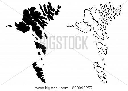 Faroe Islands map vector illustration , scribble sketch Faroe Islands