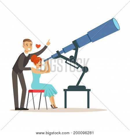 Happy romantic elegant couple in love looking looking at stars in the sky using a telescope colorful characters vector Illustration
