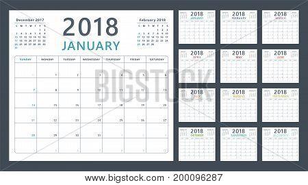 Calendar planner 2018, week starts sunday, vector design template
